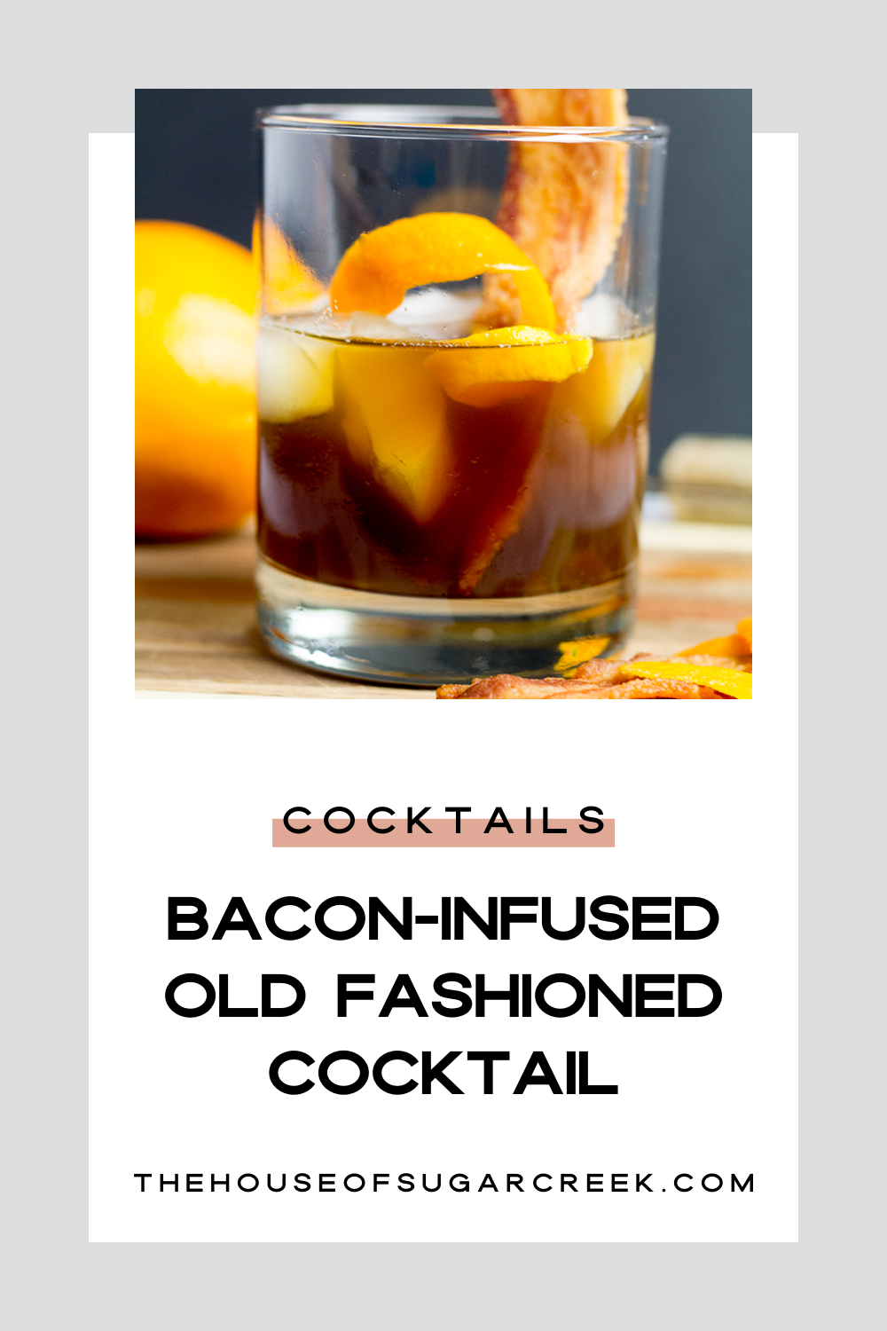 Bacon-Infused Old Fashioned Cocktail for Petit Jean Meats